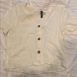 White cropped button down top